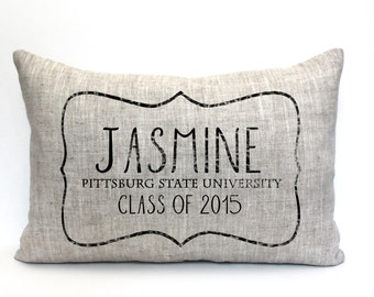"personalized graduation pillow, college graduate gift, high school graduate gift,  graduation gift, ""The Jasmine"""