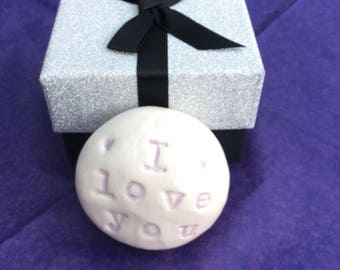I love you - Glazed Ceramic Pebble in a gift box