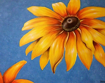 """30"""" x 40"""" Original Painting, Large Sunflower Painting, Acrylic on Canvas, Ready to Hang"""