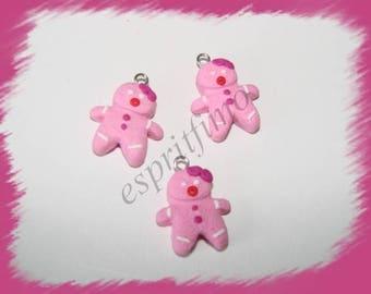 """Charm """"Ms. mini gingerbread man"""" in fimo"""