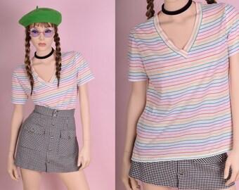 80s Rainbow Striped Tshirt/ Large/ 1980s/ Short Sleeve