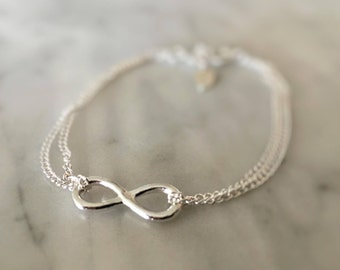 Silver Infinity Bracelet - Godmother Gift - Silver Bracelet - Will You Be My Bridesmaid - Charm Bracelet - Sterling Silver