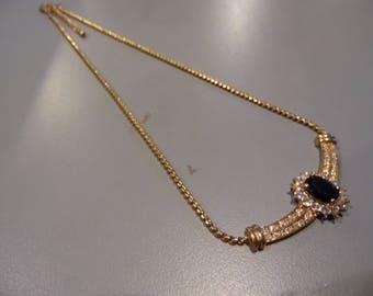 Vintage Gold Toned Rhinestone Necklace