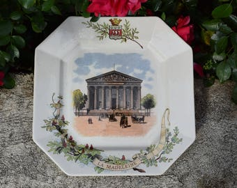 Antique French Majolica Plate Signed Sarreguemines - La Madeleine Church Paris Monument Souvenir Plate - Parisian Neoclassical