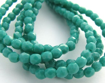 Persian Turquoise 3mm Facet Round Czech Glass Fire Polished Beads 50pc #2661