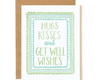 Hugs, Kisses and Get Well Wishes Letterpress Card // 1canoe2
