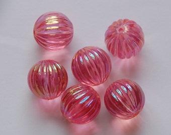West Germany Vintage AB Rose Pink Melon Beads 14mm bds799D