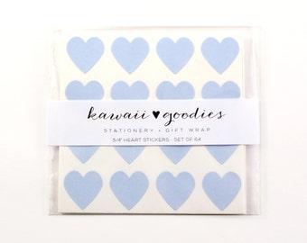 64 Pastel Blue heart stickers  - 3/4 inch mini light blue Stickers