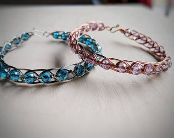 Egyptian wire wrapped, wire wrapped bracelet, blue bracelet, pink bracelet, wire wrapped, wire wrapped jewelry, unique jewelry, unique