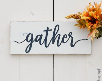Farmhouse Gather Sign L White