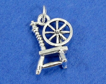 Spinning Wheel Charm - Silver Plated Spinning Wheel Charm for Necklace or Bracelet