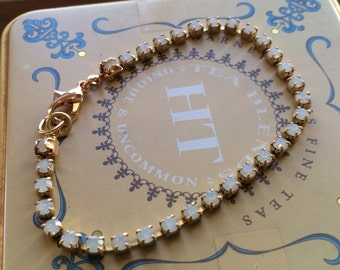 White Opal Crystal Bracelet, Cup Chain Style, Stacking Bracelet, Goldtone Lobster Clasp, Prong Set