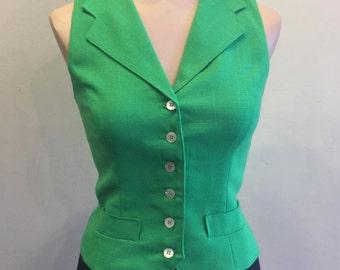 Vintage 1980's Evan-Picone Green Vest