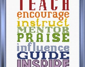 Teach, Encourage, Praise PDF Cross-Stitch Pattern