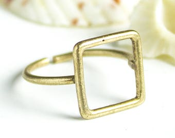 Midi Square Ring Antique Bronze Adjustable Boho Chic Jewelry Knuckle Ring Stacking Bohemian Rings Minimalistic 18mm Wire finger Rings