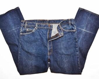 Levis/517/ Jeans/ Orange Tab/ Vintage Jeans/ Dark Denim/ Button Fly/ Straight Leg/ W42 L32 / Mens