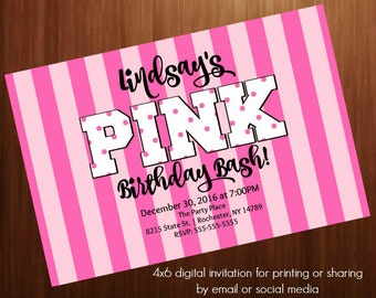 Teen girl Birthday party  invitation, PINK, Secret, Pink stripes 4x6 printable invitation