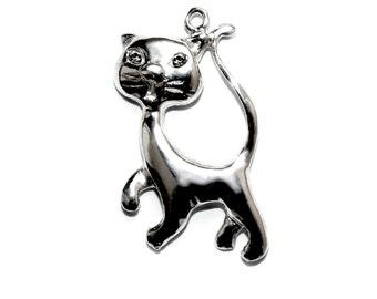 Silver cat pendant etsy sterling silver cat pendant aloadofball Choice Image