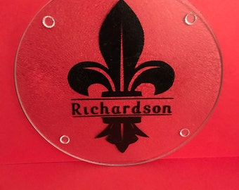 Fleur De Lis personalized cutting board*personalized cutting board*circular cutting board*Fleur De Lis*monogram*mothers day*engagement gift
