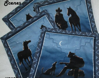 BLUE, MUG MATS,  Western Scenes,  Country Accents,  Home Décor,  Hostess Host Gift, Table Decor, Western Decor, Cowboys, Rustic