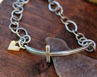 Sideways Cross in Sterling Silver Bracelet