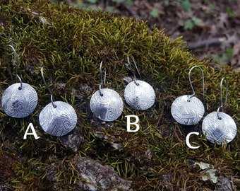 Bohemian Sterling Silver Stamped Circle Dangle Earrings
