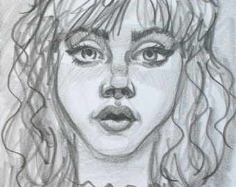 Slightly, graphite on cotton paper, 6x9 inches  by KennEy Mencher