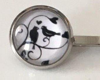 Love Birds Bobby Pin Set, Silver Bobby Pin, Bird Bobby Pins, Black and White Photo,