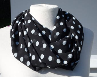 Snood scarf tube scarf woman black and white polka dot neck new collection spring 2018