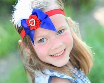 Patriotic headband, Baby headbands, satin headband, flapper style headband, Easter Headband, baby girl headband, Elastic Headband
