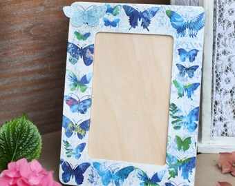 Photo frame with butterflies, Wooden blue photo frame, Handmade table decoration, Decoupaged frame, Frame with butterflies