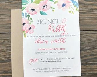 Shower invitation, Bridal shower Brunch, brunch and bubbly, floral