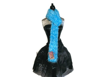 """Turquoise and White Fuzzy Knitted Scarf """"Falling Skies"""""""