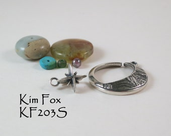Round Silver Slot Clasp of the Moon and Morning Star, lunar and star symbol clasp suitable for necklace by Kim Fox