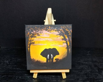 Elephants - Original Acrylic mini painting on canvas with easel