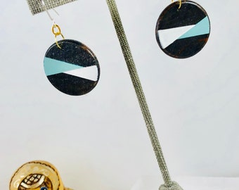Geometric Wood Disc Earrings with Blue/Gray and White