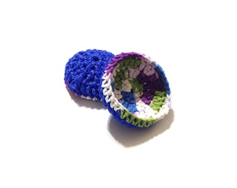 Fruit Punch Crocheted Cotton And Nylon Netting Dish Scrubbies-Pair