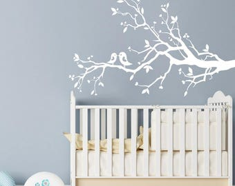 white tree branch - wall decal with leaves birds and hearts nursery wall art
