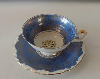 Antique Blue Tea Cup Saucer Floral Kunst Kronach AL-KA German Fine Bone China Victorian Cottage Home Decor Blue Gold Tea Lovers Gift
