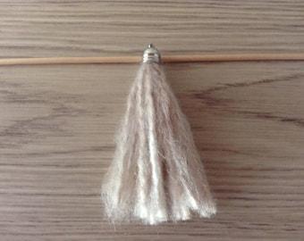 Ecru beige wool Pompom/tassel