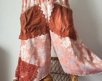 Bloomers, trousers, pants,vintage fabric,flowers,orange,festival fashion,recycled vintage fabric,lace doilies (C56) onesize / hips 48 inches