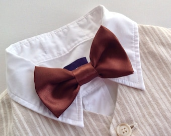 Bow Tie Brown- Ring Bearer Bow Tie- Size 4 inches- Little Boys Bow Tie-Brown Boy Tie-Ready to Ship