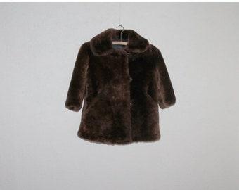 ON SALE 20% OFF Kids Fur Coat Vintage Kids Coat Vintage Fur Coat Brown Fur Coat Brown Girls Coat 70's Soviet Era Little Girls Brown Sheepski