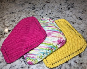Set of 3 knitted dish cloths