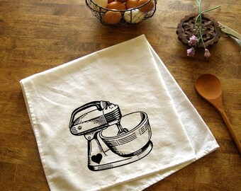 Vintage Mixer Kitchen Towel Red Baking Tea Towels CUTE kitchen towels screen print retro Indie Housewares Gifts for cooks housewarming gift