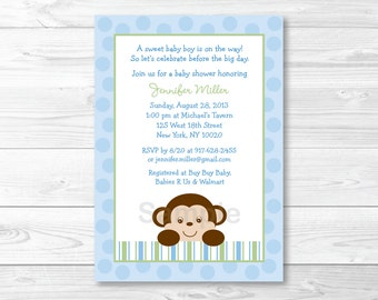 Cute Monkey Baby Shower Invitation / Monkey Baby Shower Invite / Monkey Baby Shower Theme / Baby Blue & Green / Baby Boy / PRINTABLE A414