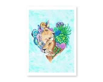 Lion love | Succulets | Crystals | Watercolour print | Painting | Art | Succulent print | Boho | Artist