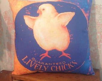 Lively Chicks fun colors pillow