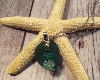 Stunning Teal Sea Glass Necklace