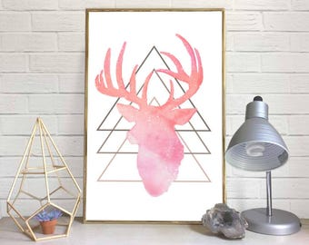 Geometric Deer-Head Watercolor Print (Pink)